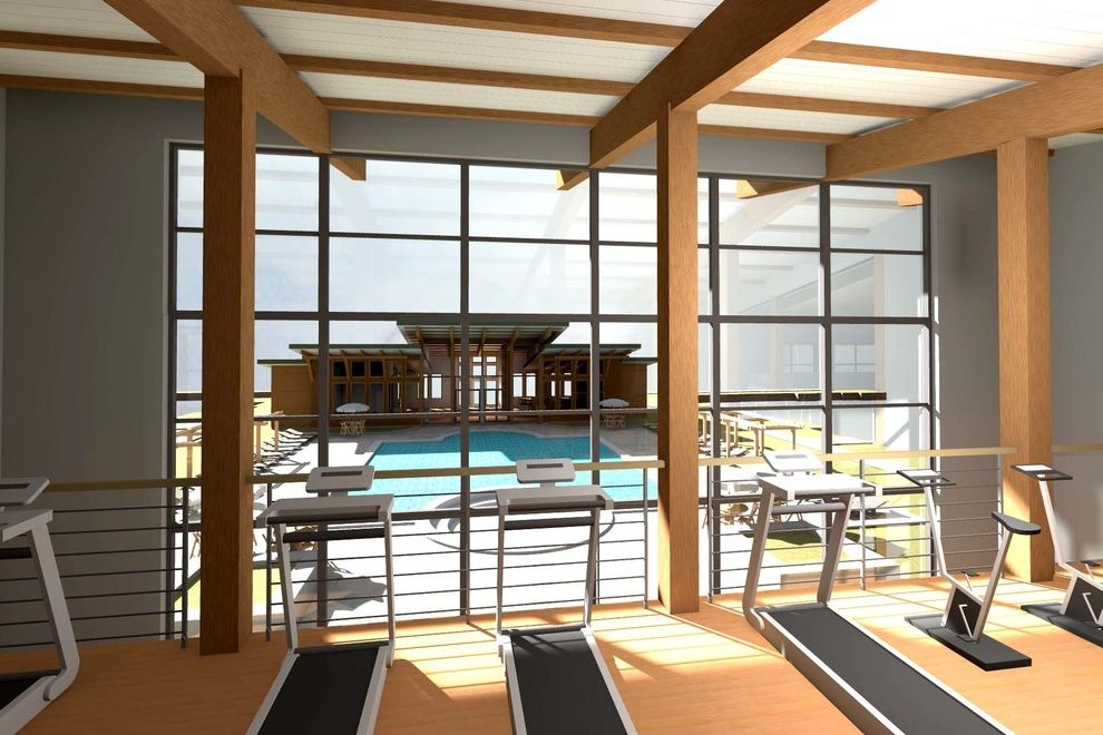 Avalon Alderwood with Traditional Home Gym  and Exposed Wood Beams Fitness Center Gym Multiuse Finess Center Renderings