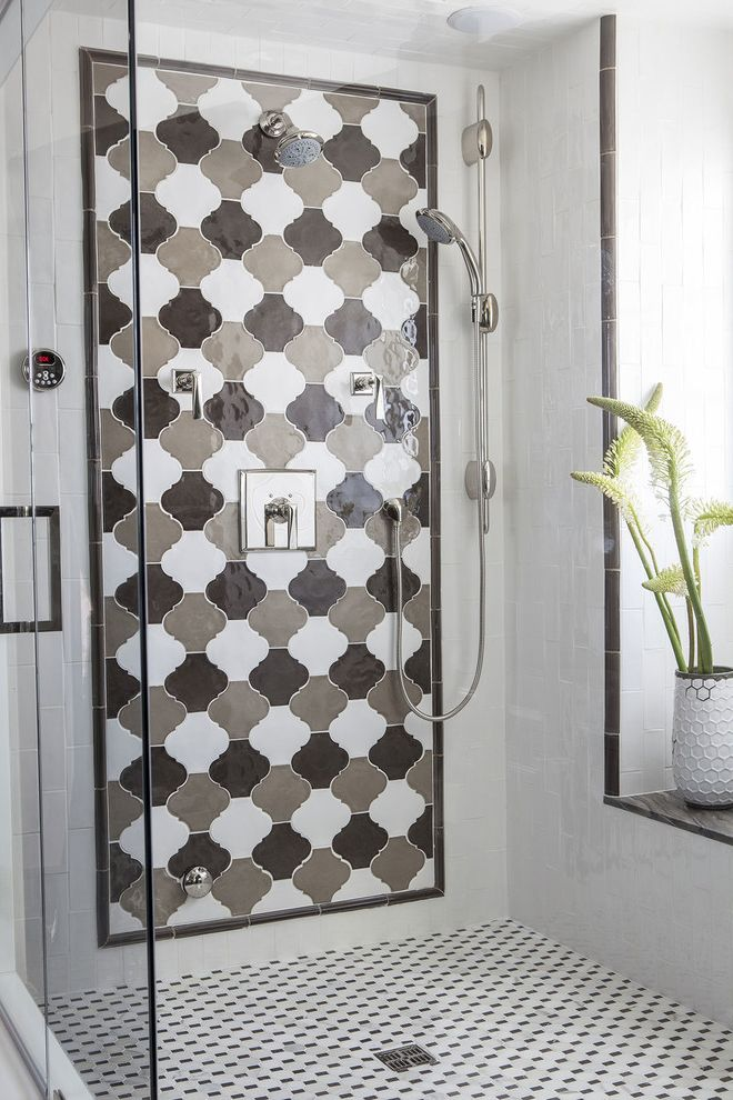 Avalon Flooring Locations   Mediterranean Bathroom Also Arabesque Brown Glass Door Natural Lighting Neutral Palette Plant Shower Tile Shower White