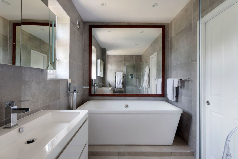 Avanity Mirrors   Contemporary Bathroom  and Bath Tub Bathroom Bathroom Flooring Contemporary Design Contemporary Home Contemporary Kitchen Contemporary Living Room Large Rectangle Mirror Living Space Slate Tiles White Kitchen