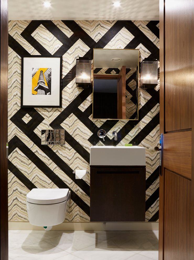 Avanity Mirrors with Contemporary Powder Room  and Art Bathroom Doors Bespoke Cloakroom Commissioned Downstairs Toilet England Floating Vanity London Made to Order Nicky Mudie Small Bathroom Under Stairs Bathroom Wall Mirror Wall Sconces Wall Treatment