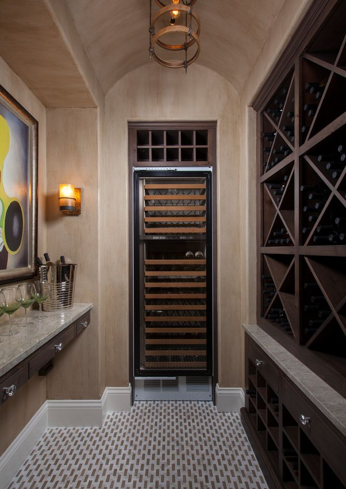 Avanti Dual Zone Wine Cooler with Tropical Wine Cellar  and Artwork Barrel Vaulted Ceiling Baseboard Dark Stained Wood Decorative Paint Floating Shelf Ice Bucket Marble Counter Paint Treament Tile Floor Wall Sconce Wine Glasses Wine Refrigerator
