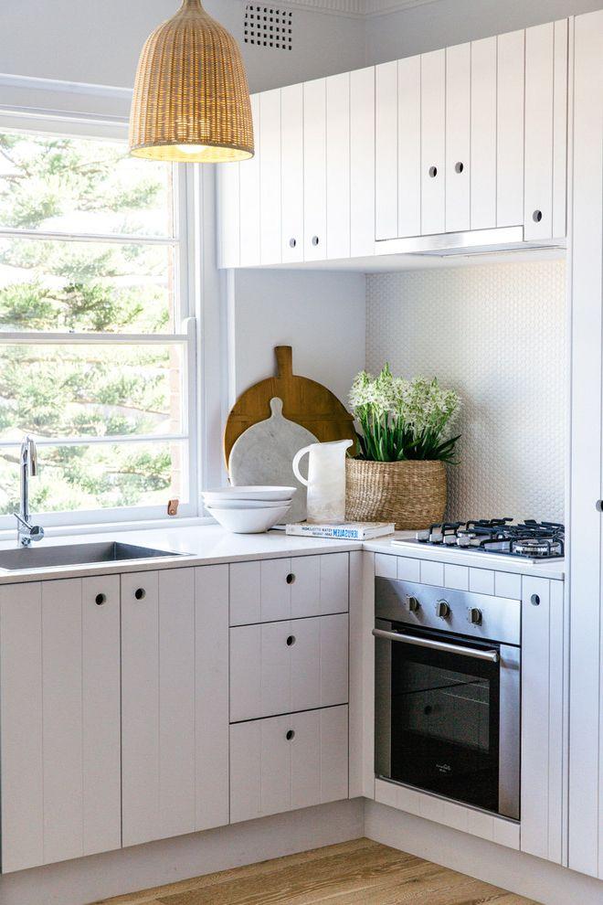 Average Cost of Kitchen Renovation   Beach Style Kitchen  and Basketweave Pendant Light Small Oven White Mosaic Backsplash Window