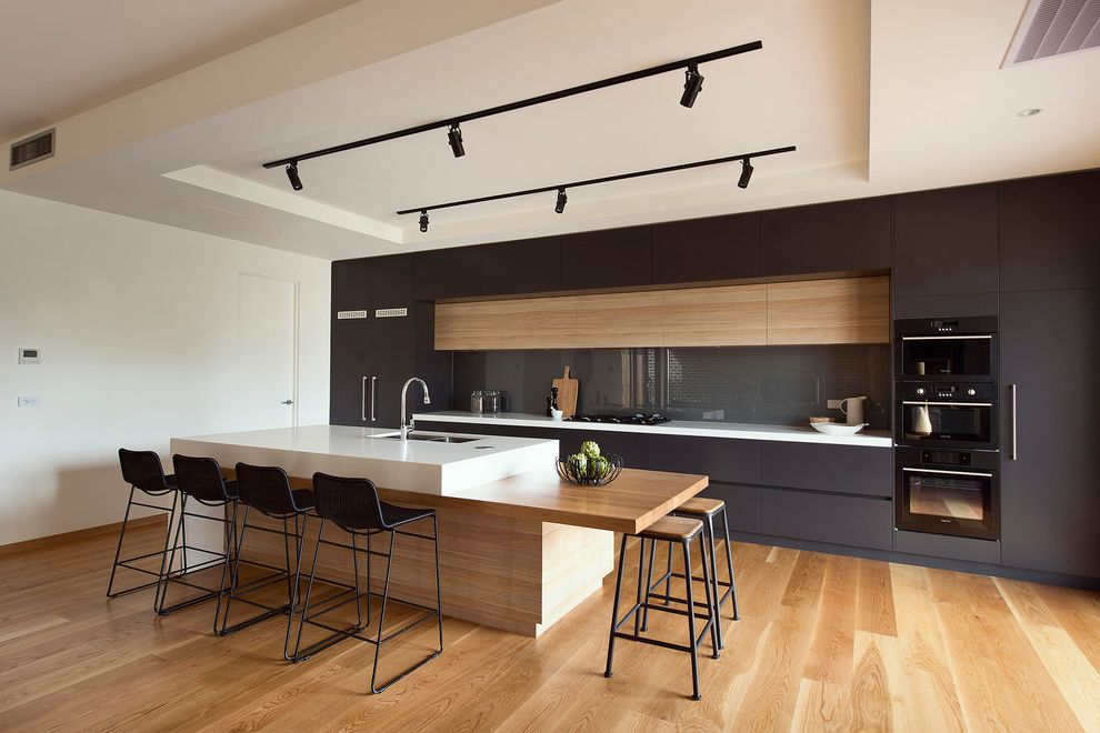 Average Cost of Kitchen Renovation with Modern Kitchen  and Black Black and White Kitchen Contemporary Bar Stool Modern Bar Stool Modern Finishes Modern Kitchen Modern Kitchen Design Timber Timber Island Bench Track Lighting White