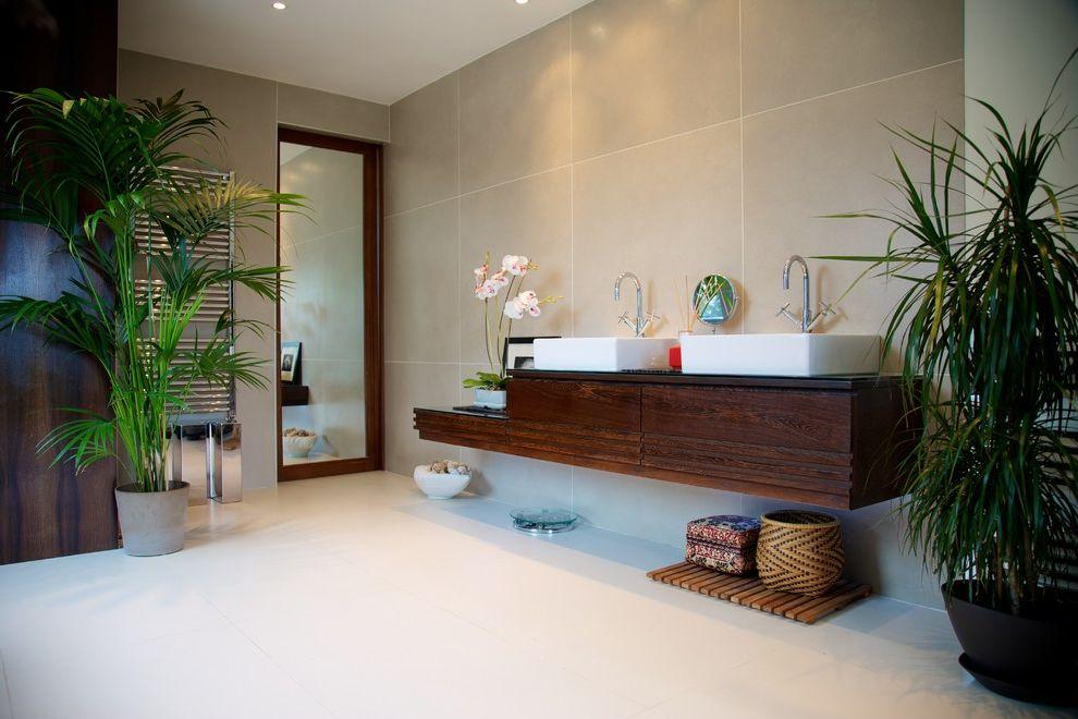 Avie Med Spa   Asian Bathroom Also Basins Double Sinks Floating Vanity Freestanding Sinks Full Length Mirror Indoor Plants Master Bathroom Towel Bars