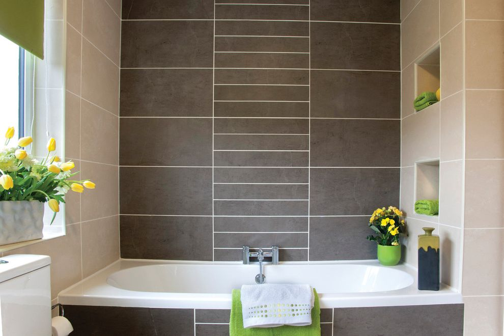 Avie Med Spa with Modern Bathroom  and Bath Towels Floral Arrangement Green Green Accents Natural Light Niche Spa Bath Tile Vase Window Window Ledge