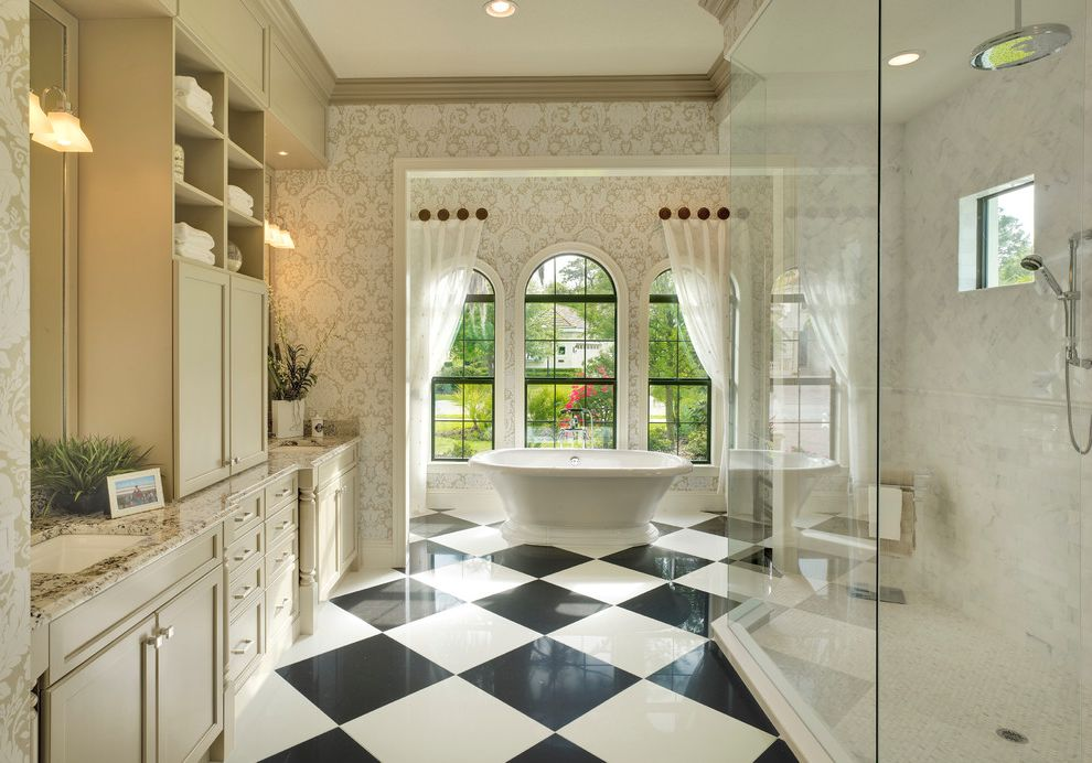 Avie Med Spa with Traditional Bathroom  and Arch Windows Black and White Tile Floor Checkerboard Tile Floor Curtains Elegance Lots of Storage Neutral Spa Bath Towels Wallpaper