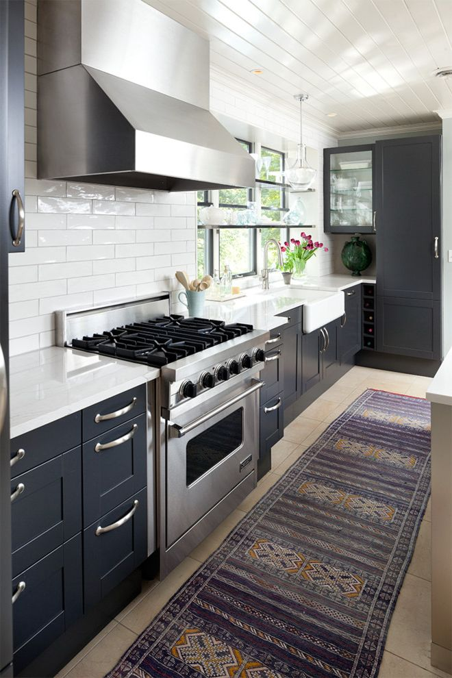 Aztec Appliance   Transitional Kitchen Also Dark Blue Cabinets Farmhouse Sink Purple Aztec Runner Shiplap Ceiling Silver Range Hood Windows Above Sink