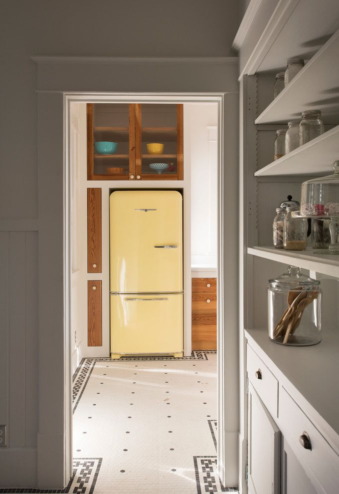Aztec Appliance with Eclectic Kitchen Also Apothecary Jar Black and White Floor Glass Front Cabints Light Yellow Fridge Open Shelves Retro Fridge Retro Kitchen Vintage Fridge