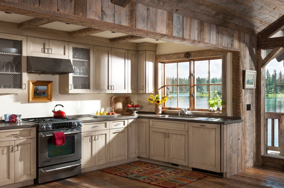 Aztec Appliance with Rustic Kitchen  and Aztec Rug Framed Art Lake House Lake View Reclaimed Wood