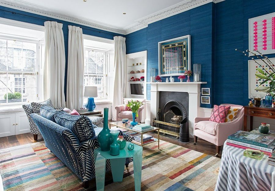 Aztec Grass with Eclectic Living Room Also Architecture Blue Grasscloth Blue Walls Chic Colour Feminine Georgian Modern Pattern Patterned Sofa Playful Pretty Rug Company Silk Curtains Stylish White Curtains Window Seats