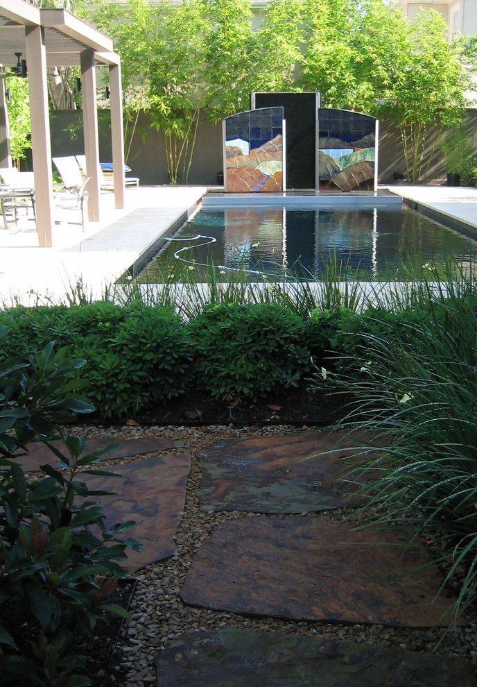 Aztec Grass with Modern Landscape Also Arbor Arbor Design Art Bamboo Cedar Arbor Collaboration Contemporary Fountain Landscape Design Modern Modern Water Fountain Pool Pool Design Sculptural Fountain Sculpture