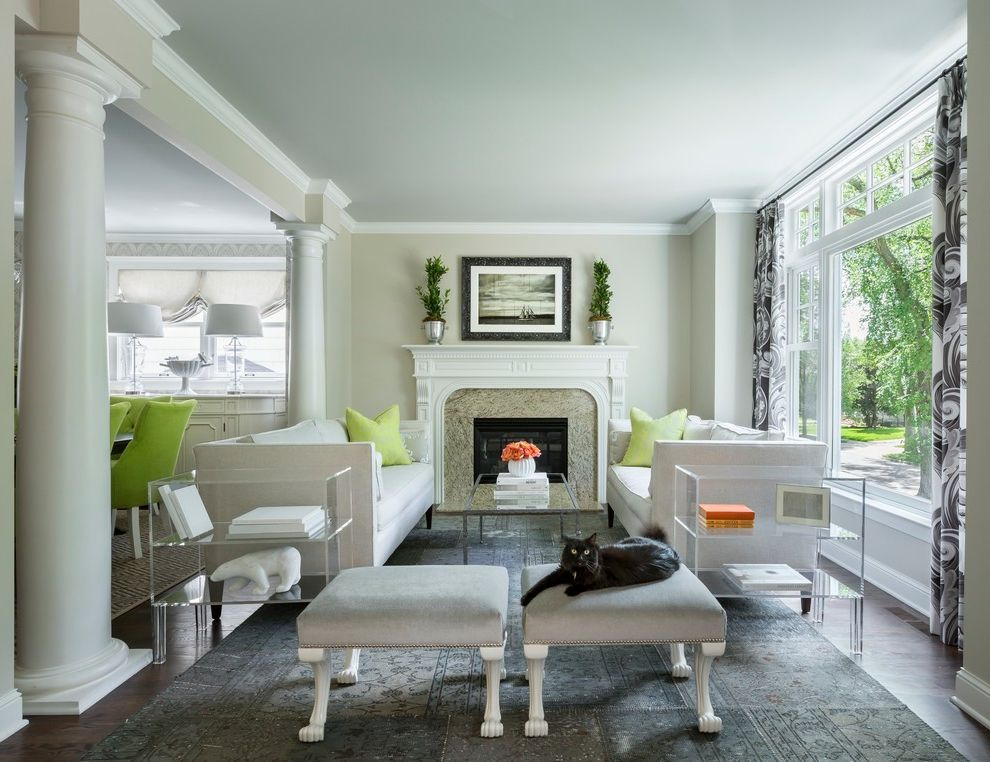 Balboa Mist Paint   Transitional Living Room Also Acrylic End Tables Footed Ottoman Gray Area Rug Gray Ottomans Lime Green Lucite White Columns White Sofa