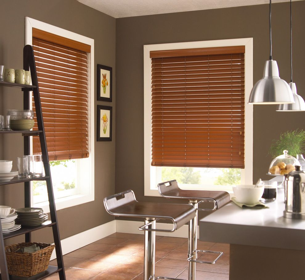 Balboa Mist Paint with Contemporary Kitchen Also Bar Stools Blinds Curtains Drapery Drapes Faux Wood Blinds Kitchen Kitchen Blinds Kitchen Seating Plates Shutter Shades Tile Flooring Window Blinds Window Coverings Window Treatments