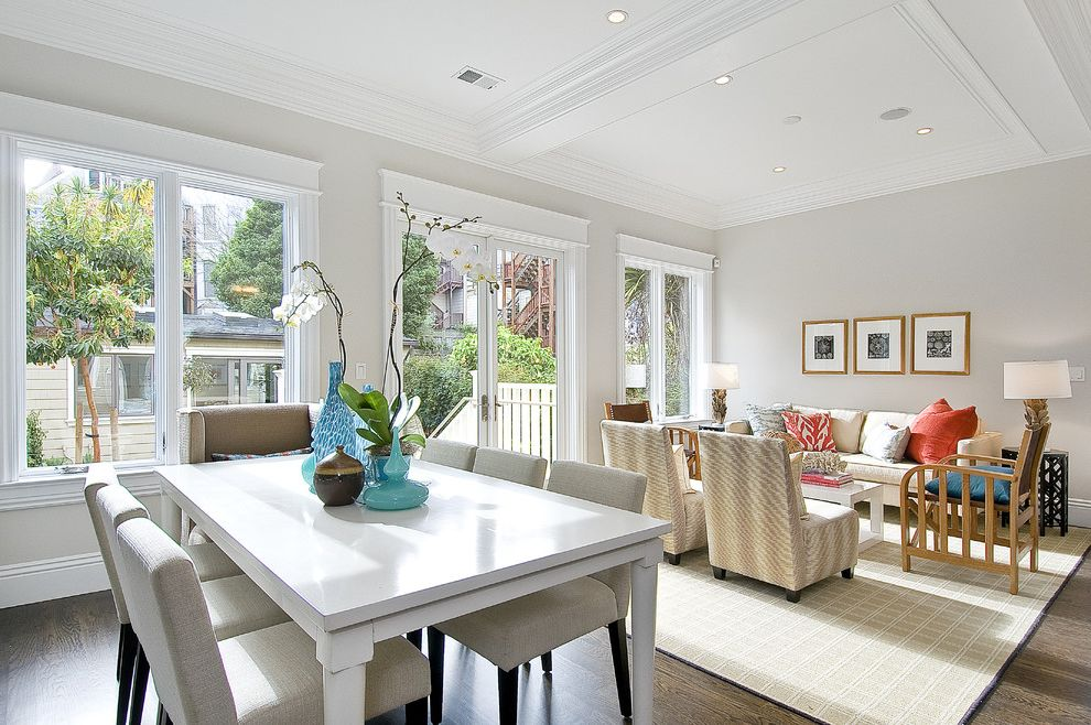 Balboa Mist Paint with Traditional Dining Room  and Traditional