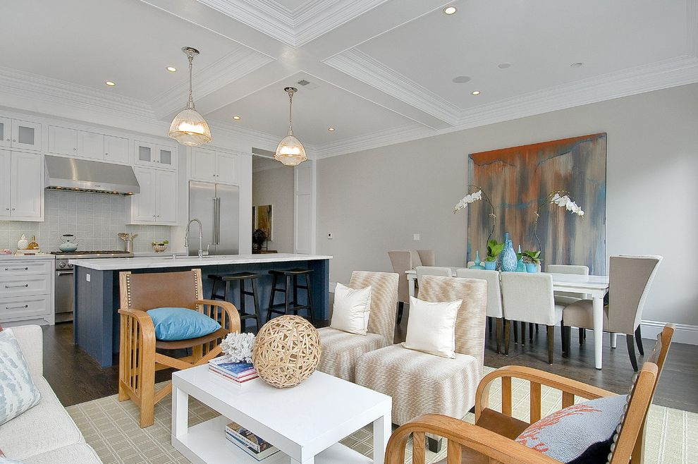 Balboa Mist Paint with Traditional Living Room Also Coffered Ceiling Counter Stools Custom Woodwork Dining Area Frame and Panel Cabinets Gray Hood Island Marble Pendant Lights Stainless Steel White Counters White Painted Wood
