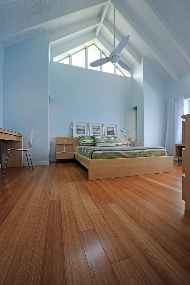 Bamboo Flooring Review   Contemporary Bedroom  and Ceiling Fan Light Blue Walls Light Wood Desk Light Wood Platform Bed Sheer White Curtains Table Lamp White Beams White Ceiling White Desk Chair Wood Floor