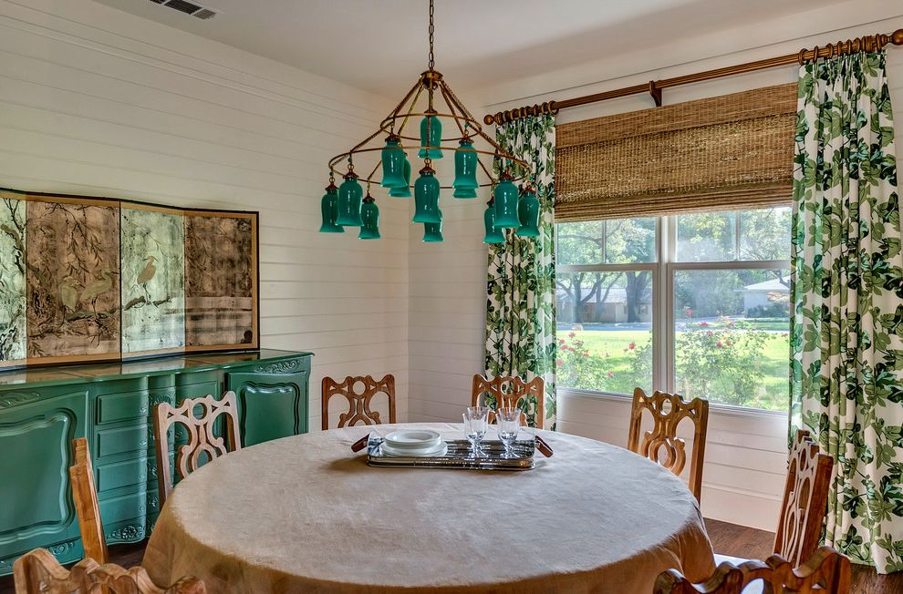 Bannister Custom Homes with Farmhouse Dining Room Also Green Cabinet Modern Farmhouse Patterned Curtains Round Dining Table Turquoise Chandelier Wood Dining Chairs