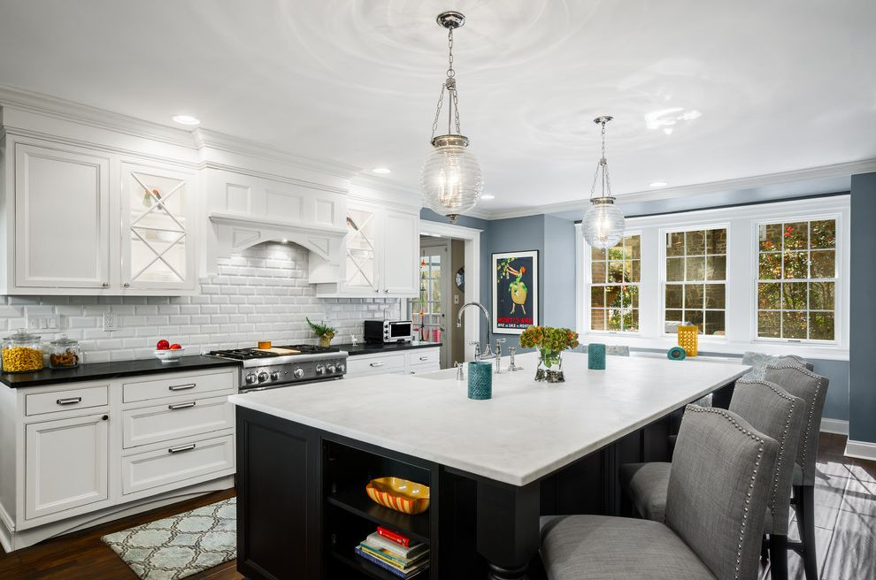 Bar Stools at Target with Traditional Kitchen Also Arabesque Rug Black and White Traditional Kitchen Black Countertop Custom Hood Glass Pendant Light Gray Bar Stools Island Legs Island Seating for 6 Large Island Nailhead Trim White Countertop