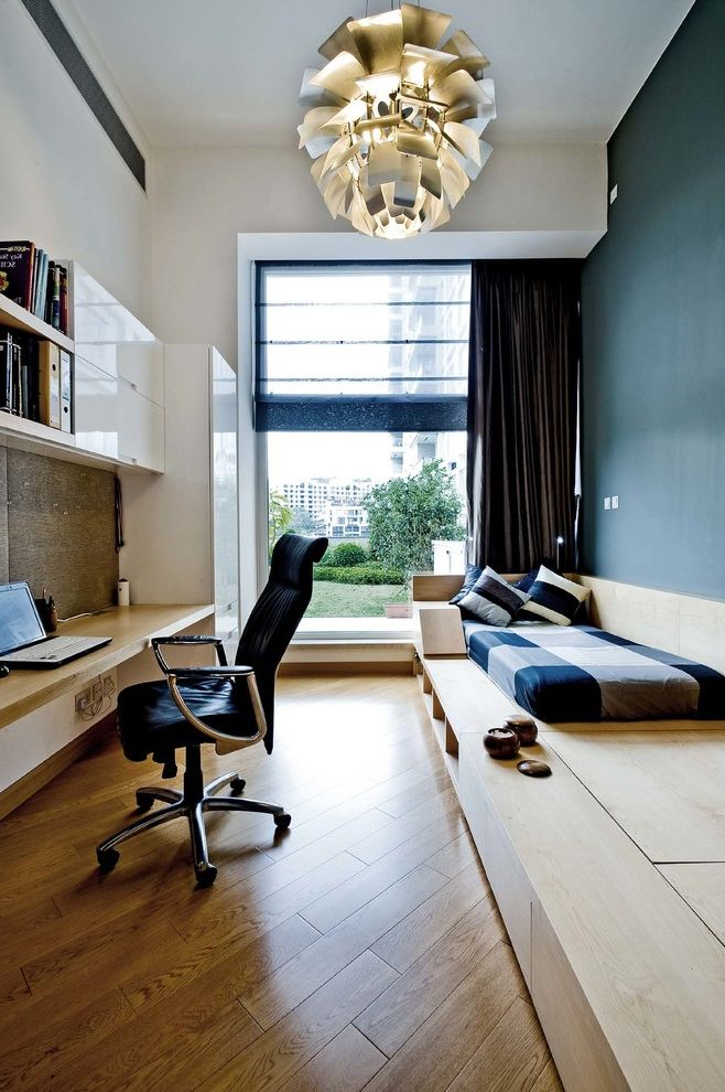 Barber Appointment App   Contemporary Home Office  and Black Task Chair Blue Accent Wall Blue Wall Built in Desk Floating Desk Medium Wood Flooring Pendant Light Plaid Bedding Recessed Curtain Track Tall Window White Cabinets White Ceiling White Walls