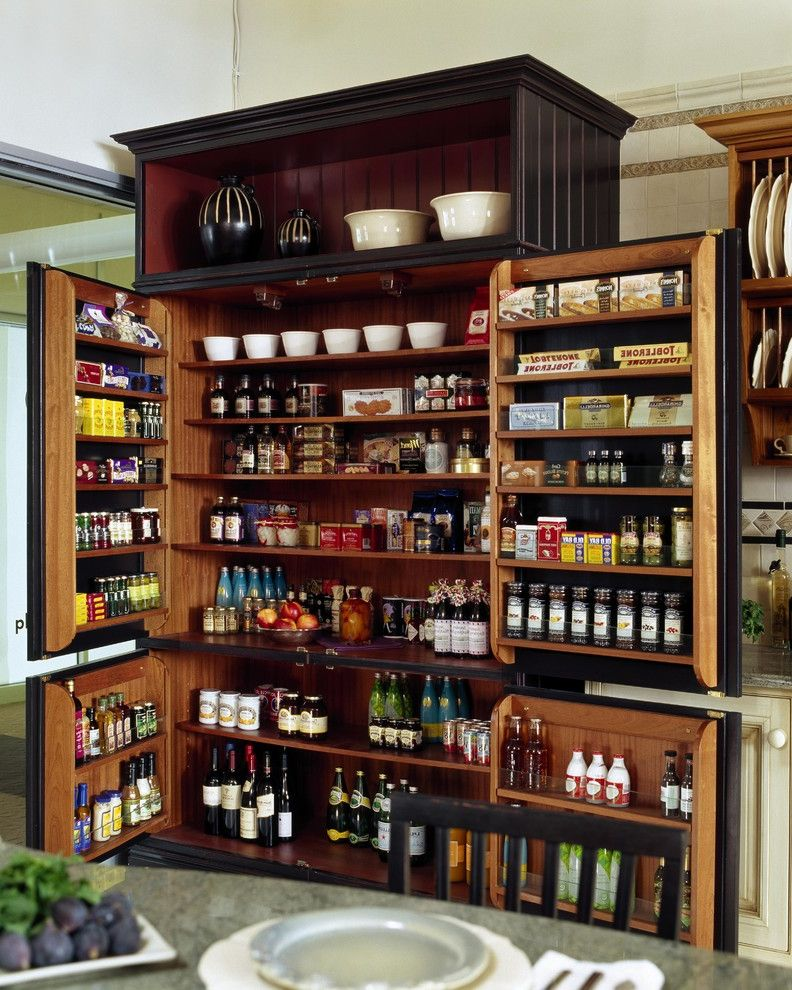 Barber Appointment App with Traditional Kitchen  and Armoire Black Cabinets Dining Buffet Dining Hutch Organization Pantry Pantry Shelves Storage Two Tone Cabinets Wood Cabinets