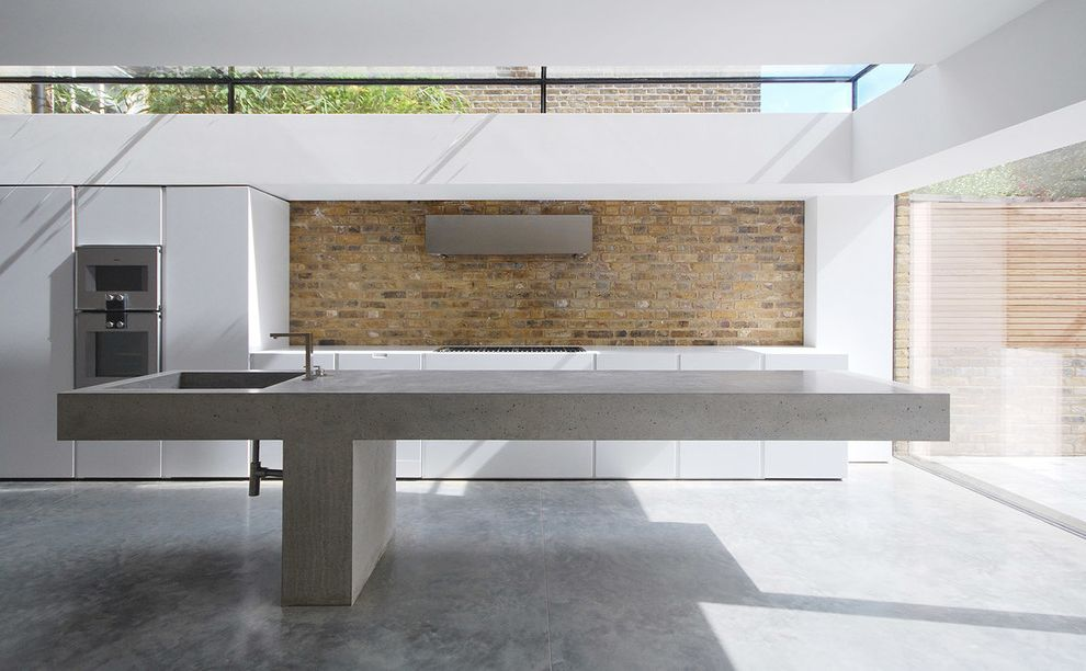 Bargain Bobs with Contemporary Kitchen Also Brick Concrete Concrete Sink Exposed Brick Exposed Brick Splashback House Refurbishemnt in Queens Park Large Sink Minimalist Minimalist Kitchen