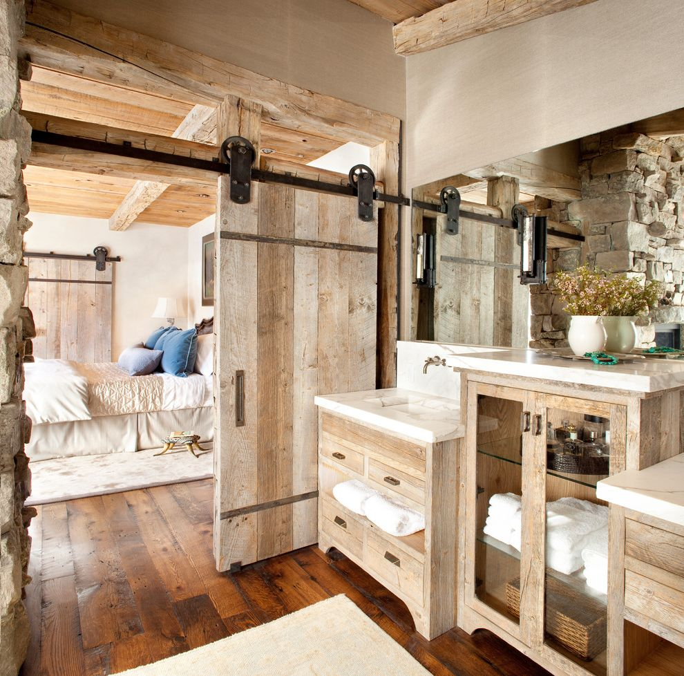 Barn Door Hardware Lowes   Rustic Bathroom Also Bathroom Storage Door Hardware Exposed Beams Freestanding Vanity Glass Front Cabinets Master Bathroom Rustic Sliding Barn Door Tan Walls Transom Wall Mount Faucet Wood Door Wood Flooring