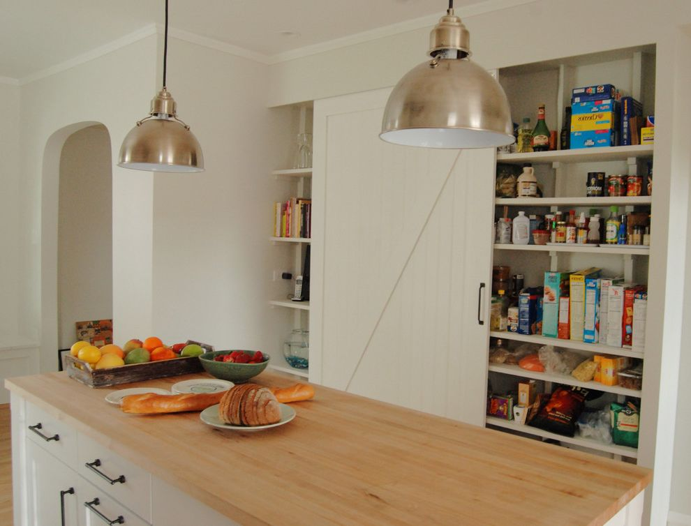 Barn Doors Dallas   Farmhouse Kitchen  and Arch Barn Door Butcher Block Island Maple Pantry Pendant Silver Sliding White
