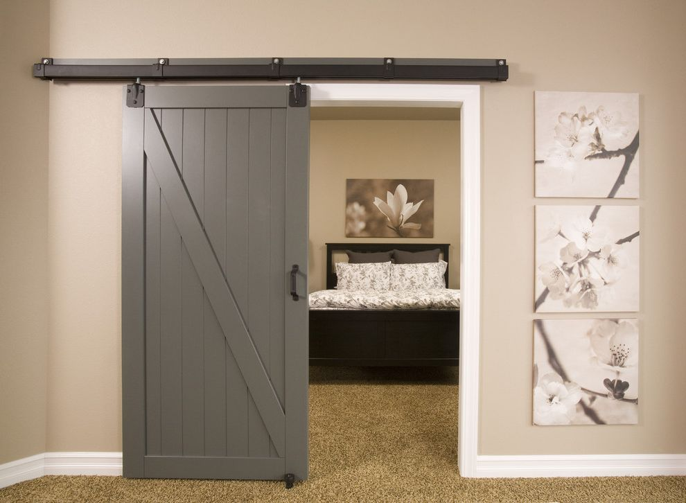 Barn Doors Dallas with Contemporary Basement Also Barn Door Baseboards Basement Beige Carpet Beige Walls Contemporary Basement Contemporary Bedroom Floral Art Floral Bedding Gray Door Grey Abrn Door Wall Decor White Bedding White Trim