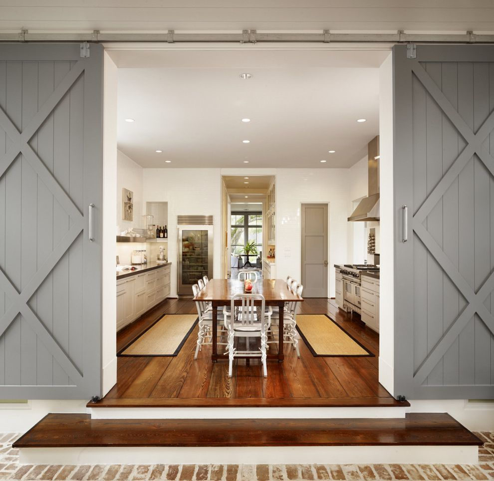 Barn Doors Dallas with Farmhouse Kitchen  and Dining Chairs Dining Table Framed View Gray Barn Doors Rug Runner Stairs