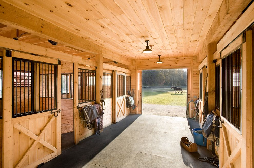 Barnlight Originals   Farmhouse Shed Also Black Breezeway Exposed Rafters Horse Blankets Horses Iron Bars Knotty Pine Natural Wood Pasture Sliding Barn Doors Stables Tack Tongue and Groove Paneling Wood Ceiling