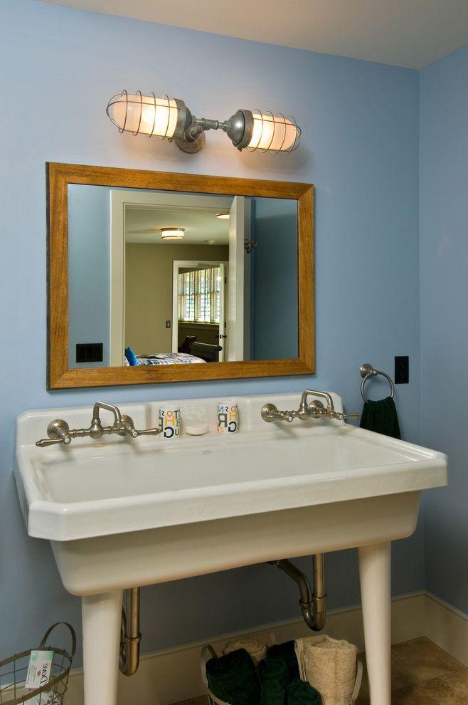 Barnlight Originals   Rustic Bathroom Also Baseboards Bathroom Mirror Blue Walls Double Sink Freestanding Sink Industrial Light Fixture Sconce Utility Sink Wall Lighting Wall Mount Faucet Washstand