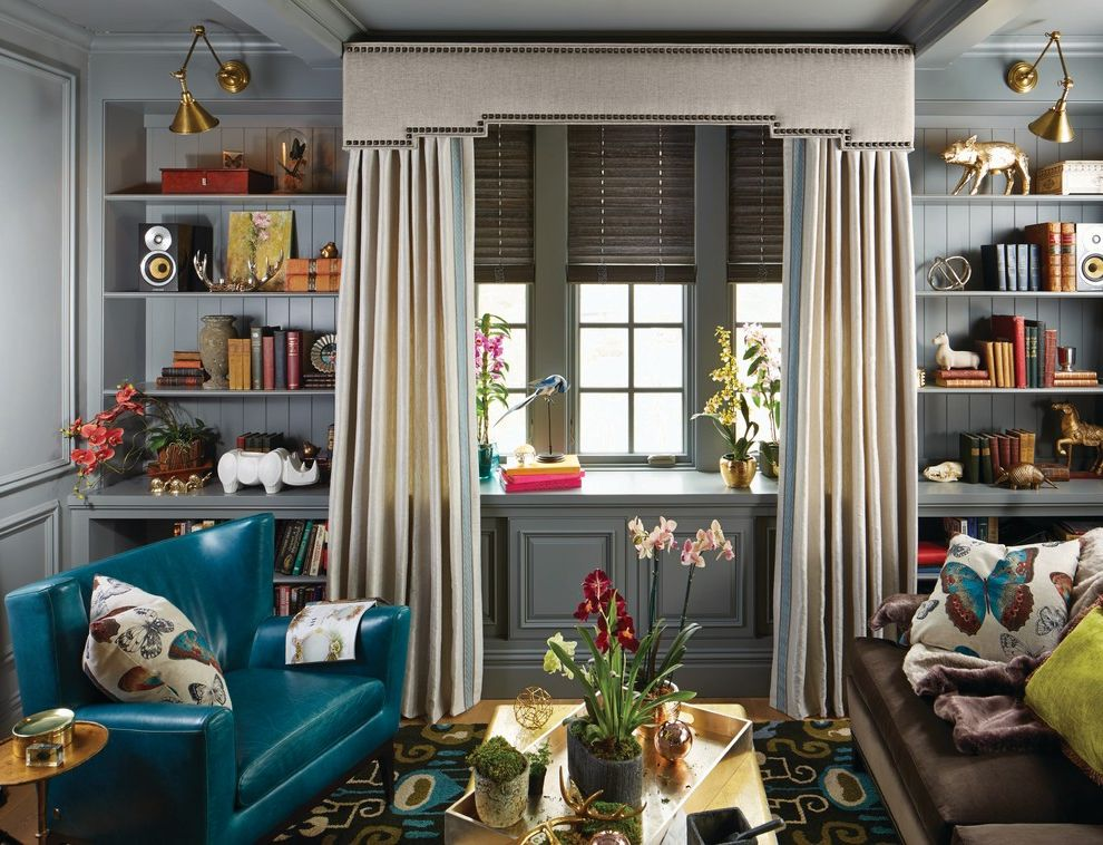 Barnlight Originals with Contemporary Living Room  and Area Rugs Blinds Blue Sofa Book Shelf Cornices Moldings Curtains Drapery Fabric Drapes Linen Drapery Pillows and Throws Pinch Pleat Drapes Window Coverings Window Treatments Wood Blinds