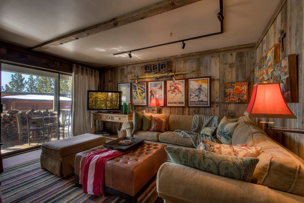 Barnwood Paneling   Rustic Family Room Also Accent Pillows Leather Ottoman Paisley Accent Pillows Reclaimed Wood Reclaimed Wood Paneling Sectional Sofa Swing Arm Sconces Track Lights Tufted Ottoman Wall Art Wool Throw Blankets