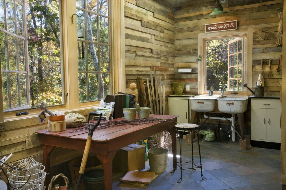 Barnwood Paneling   Rustic Shed  and Barm Light Casement Windows Cottage Garden Tools Potting Bench Potting Shed Rustic Shed Stone Floor Utility Sink Wood Paneling