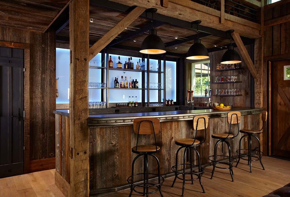 Barnwood Paneling with Farmhouse Home Bar  and Antique Furniture Home Bar Industrial Style Led Lighting Man Cave Ralph Lauren Style Rustic Rustic Country Style Shiplap Stables Steel Bar Wood Floor Zinc Bar