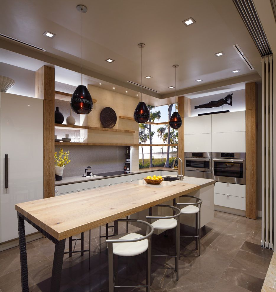 Barons Appliance with Contemporary Kitchen  and Black Pendant Light High Gloss Kitchen Light Wood Shelves Long Kitchen Island Silver Bar Stools Sliding Doors Structured Melamine White Gloss