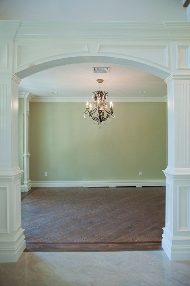 Baseboard Heat Covers with Traditional Dining Room  and Chandelier Details Dining Room Entry Trim Wood Floors Wood Work