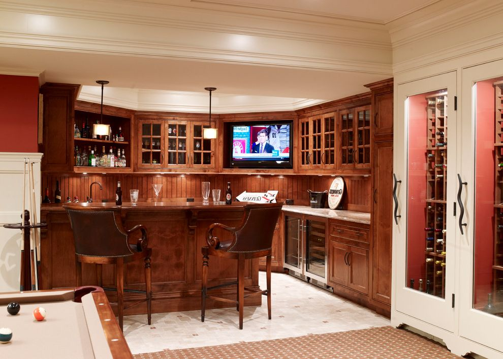 Basement in Spanish   Traditional Basement Also Bar Area Beadboard Backsplash Crown Molding Game Room Home Bar Pendant Lighting Pool Table Red Walls Undercabinet Lighting Wet Bar White Wood Wine Cooler Wine Storage Wood Cabinets Wood Trim