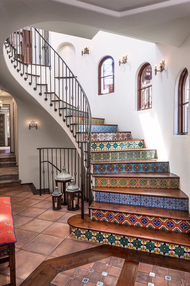 Basement in Spanish with Mediterranean Staircase Also Arched Windows Bright Staircase Bright Tile Colorful Staircase Colorful Tile Metal Staircase Railing Staircase Tile