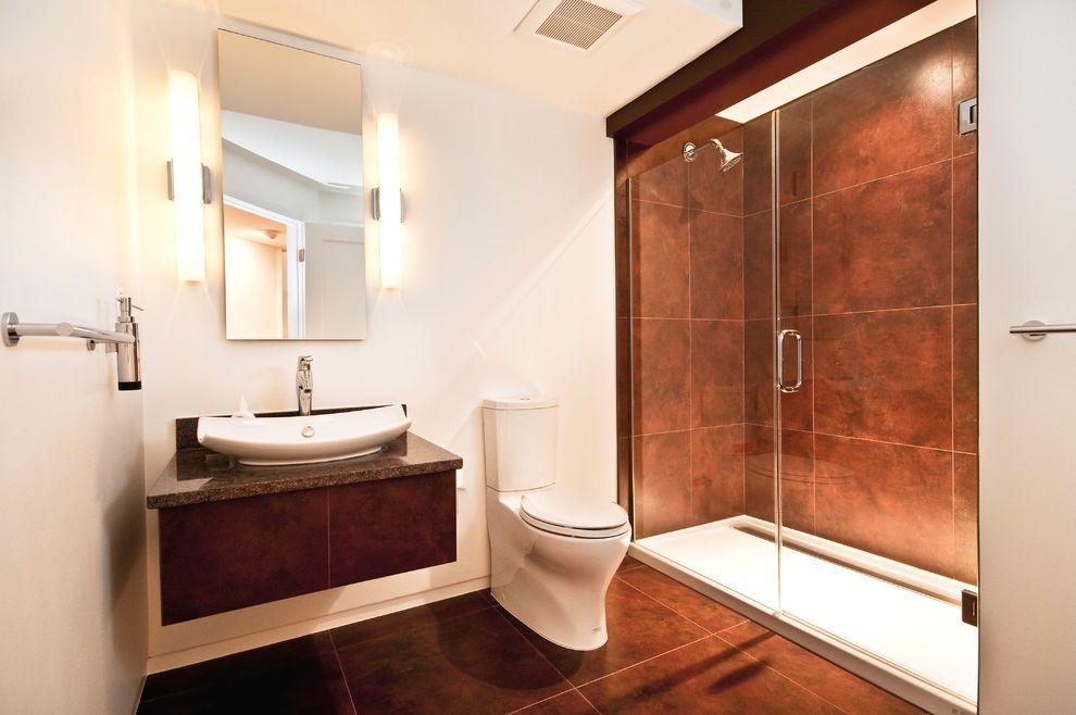 Basement Toilet   Contemporary Bathroom Also Basement Bathroom Bathroom Ceramic Tile Custom Vanity Floating Floating Sink Full Kohler Leaf Sink Lighting Marble Top Moen Moen Faucet Polished Chrome Shower Tile Vanity Vessel Sink