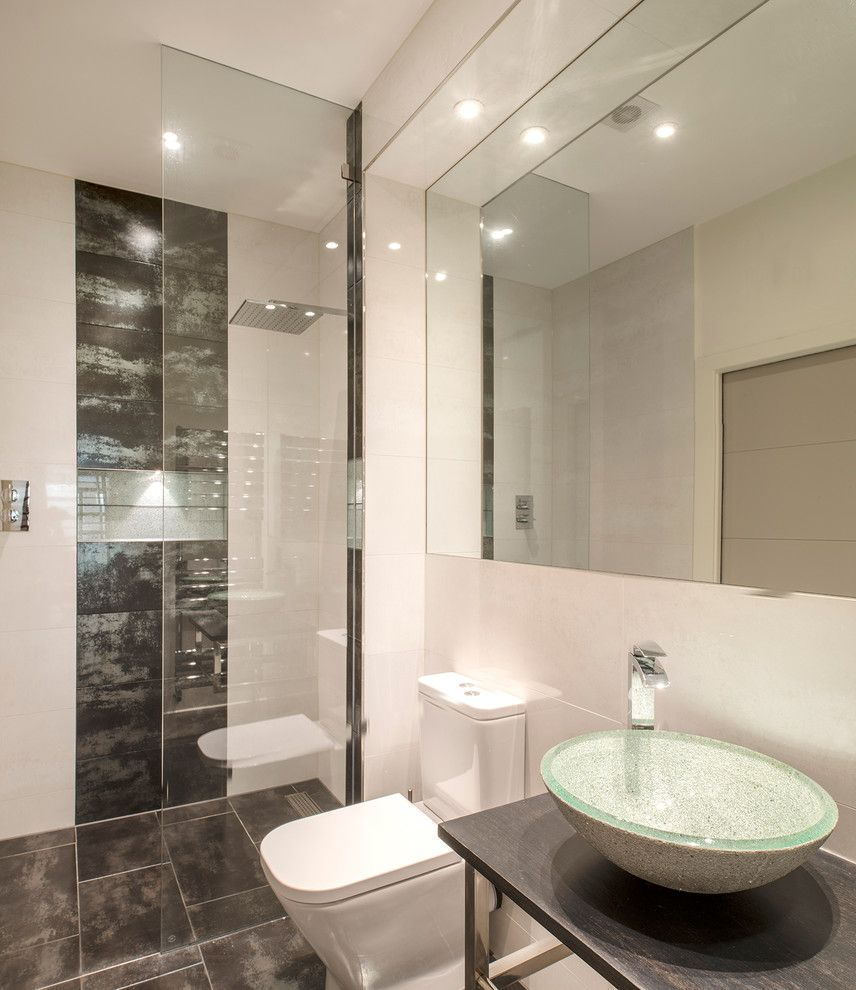 Basement Toilet   Contemporary Bathroom Also Basement Shower Room Bathroom Mirror Bathroom Tile Free Standing Sink Gray Floor Tile London Basement Rainfall Shower Head Shower Panel Shower with Glass Wall Sink Bowl Toilet Walk in Shower