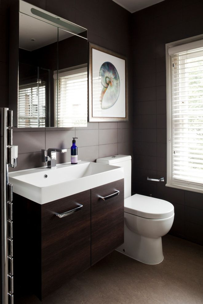 Basement Toilet   Contemporary Bathroom  and Dark Wood Basin Unit Floating Vanity Framed Art Linoleum Floor Shell Print Single Handle Faucet Stylish Bathroom White Venetian Blind