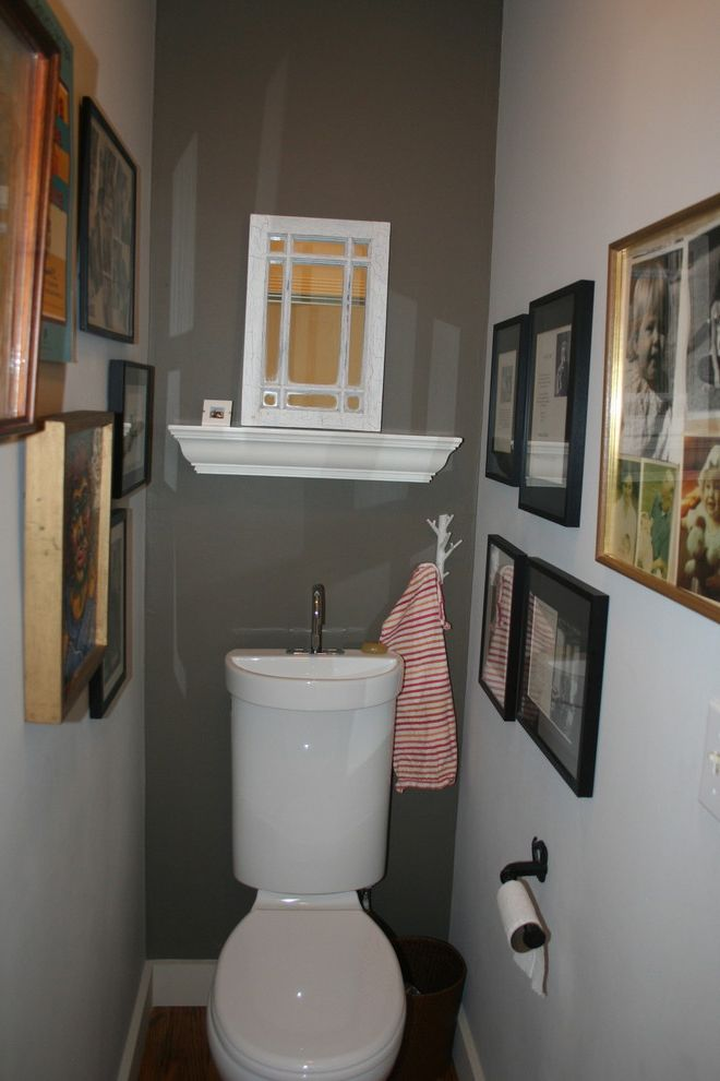 Basement Toilet with Eclectic Powder Room  and Art Bathroom Dual Flush Toilet Gray Powder Room Tiny Bathrooms