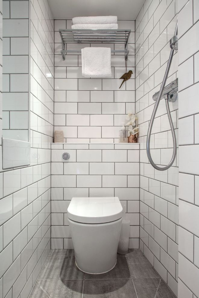 Basement Toilet with Transitional Bathroom Also Mini Bathroom Small Bathroom Design Tiled Bathroom Tiny Bathroom Toilet Towel Rack Wet Rooms White Bathroom White Metro Tile White Metro Tiles White Tiled Bathroom