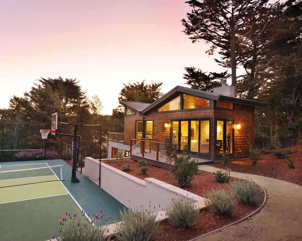 Basketball Barrier Nets   Contemporary Exterior Also Balcony Basketball Court Child Friendly Dark Trim Flower Bed Gravel Path High Window House on a Hill Shed Roof Shingle Sliding Doors Sport Stucco Wall Tennis Court Tennis Fence Two Level House