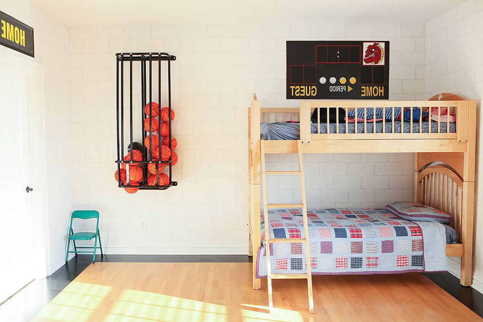 Basketball Barrier Nets   Contemporary Kids  and Airy Basketball Boys Room Bright Sports Bunk Bed Cmu Concrete Masonry Unit Light Wood Painted Border Quilt Scoreboard Metal Folding Chair White Wood Floor