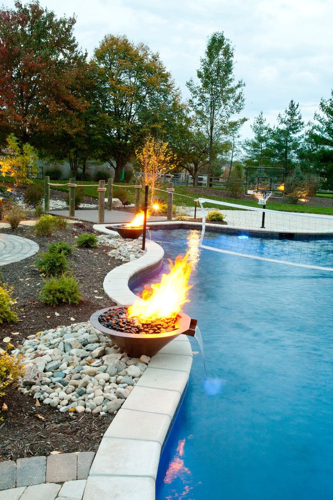 Basketball Barrier Nets   Traditional Pool  and Basketball Hoop Fire Pit Footbridge Hot Tub Indoor Outdoor Living Modern Landscape Outdoor Dining Pool Volleyball Net Water Feature