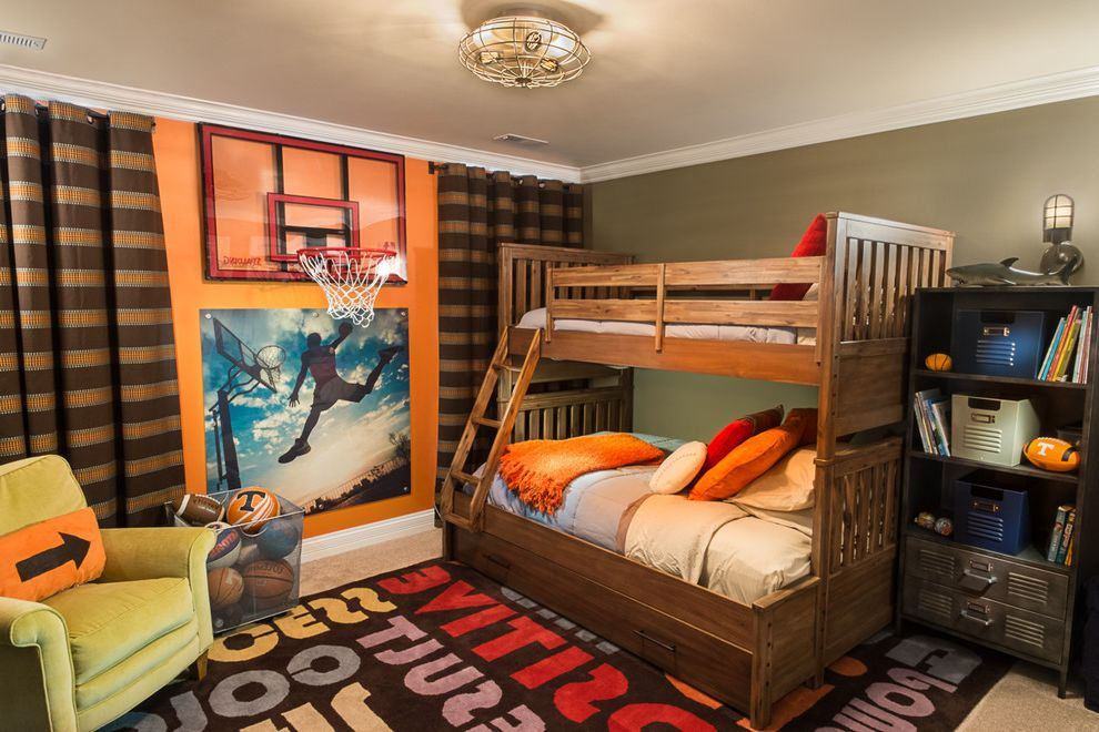 Basketball Barrier Nets   Transitional Kids Also Basketball Hoop Bookcase Boys Bedroom Boys Room Brown Stripes Ceiling Light Crown Molding Football Green Armchair Masculine Orange Wall Shark Sports Theme Striped Curtains Wood Bunk Beds Word Rug