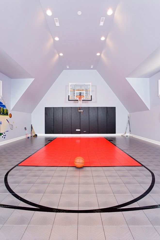 Basketball Barrier Nets with Contemporary Home Gym  and Basketball Court Basketball Hoop Basketball Key Exercise Room Half Court Hockey Sticks Kids Bonus Room Sports Court Vaulted Ceiling Wall Padding