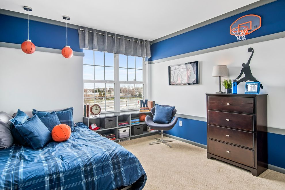 Basketball Barrier Nets with Transitional Kids  and Basketball Pendant Lights Basketball Theme Blue Bedding Blue Bedroom Boys Bedroom Corner Bed Cubby Hole Bookcase Dresser Striped Walls Themed Boys Bedroom Themed Teen Rom Wall Mount Tv